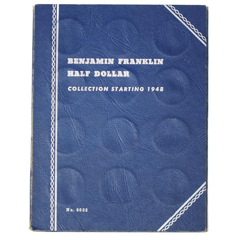 Complete Circulated 1948-1963 P-D-S Franklin Half Dollar Set in Whitman Coin Folder