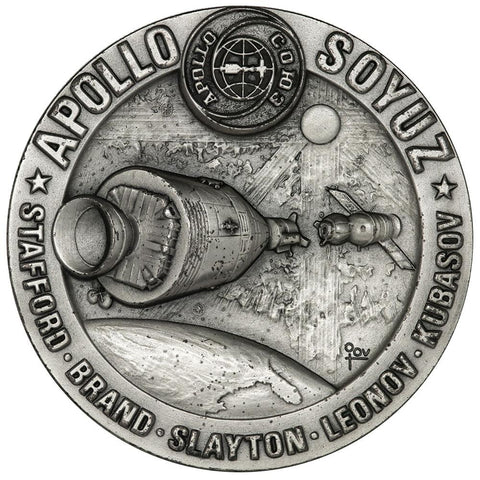 "Medallic Art Co Apollo-Soyuz Test Program 2.5"" 5.45 toz .999 Silver Medal"