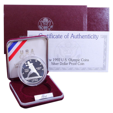 1992-S Olympic Baseball Commemorative Silver Dollar - OGP w/ C.O.A.