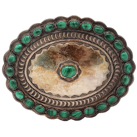 Signed Native American Sterling Silver & Malachite Belt Buckle