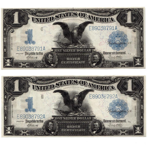 Pair of Consecutive 1899 Black Eagle $1 Silver Certificates Fr. 235 - Uncircualted