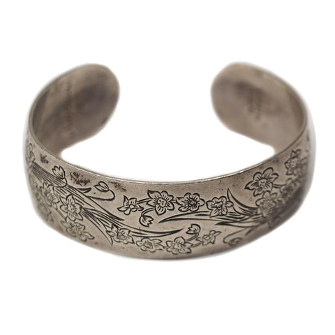 S. Kirk & Son Narcissus Floral Sterling Silver Cuff Bracelet