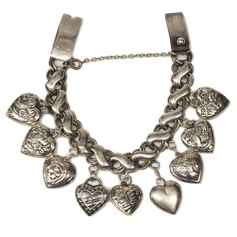 Vintage Taxco Carlia Puffy Heart Sterling Silver Charm Bracelet