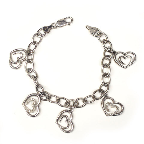 Sterling Silver Diamond Heart Charm Bracelet