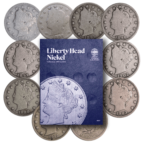 Budding Collectors Liberty Head Nickel Starter Set - 10 Different Dates Including Folder