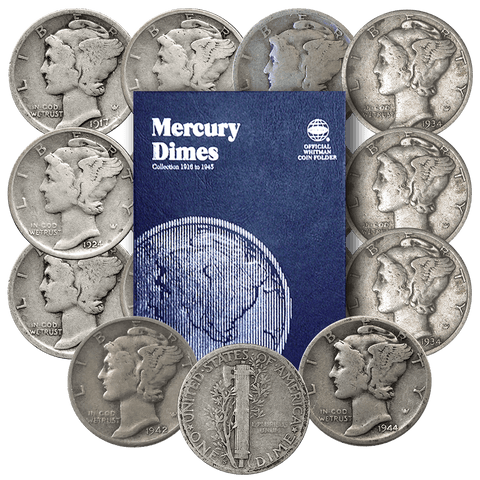 Budding Collectors Mercury Dime Starter Set - 15 Different Dates Including Folder