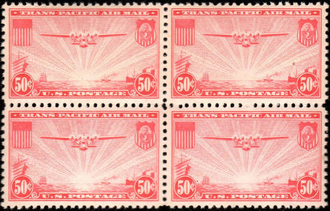 Scott #C22 1937 50¢ China Clipper Carmine Red Block of Four - Very Fine NH OG