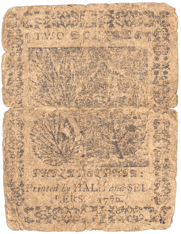 Continental Currency February 17, 1776 $2 CC-24 - Good/Very Good