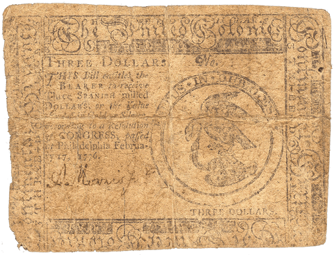 Continental Currency February 17, 1776 $3 CC-25 - Very Good