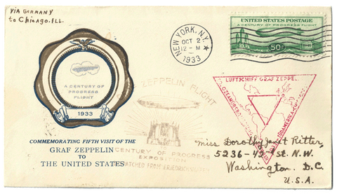 First Day Cover Air Post 1933 Century of Progress - Graf Zeppelin Envelope Front