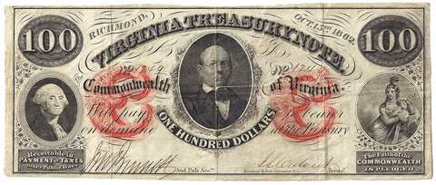 1862 $100 Virginia Treasury Note Cr.6 (Orange Protectors) ~ Very Fine