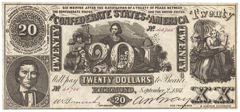 T-20 Sept. 2 1861 $20 Confederate States of America (C.S.A.) CT-20/141 - Choice Uncirculated