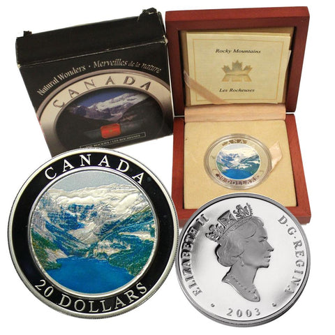 "2003 Canada $20 Natural Wonders ""The Rockies"" Silver Coin w/ Box & C.O.A."