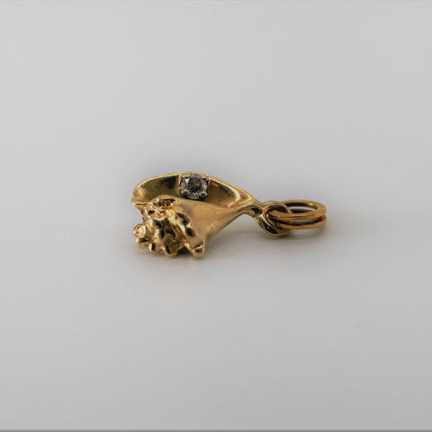 14K Gold & Diamond Conch Shell Charm