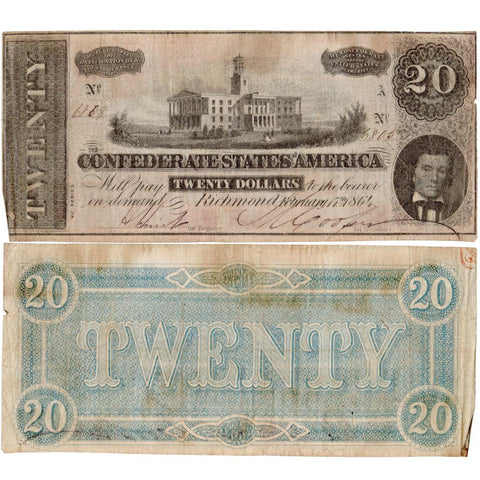 T-67 February 17th, 1864 $20 Confederate States of America Notes Deal - VG/F