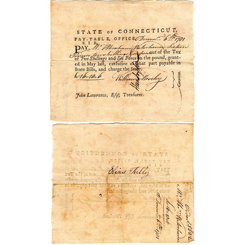 December 6th, 1781 Connecticut Pay-Table £16 10S Revolutionary War Promissory Note - Very Fine