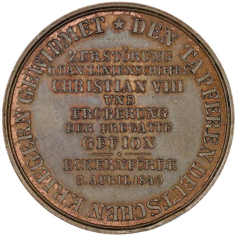 1849 Germany, Battle of Eckernförde Victory Medal, Bronze 32mm - Uncirculated Details