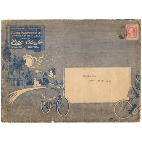 Late 1800's Pope Motorcycles/Columbia Bicycles Mailing Envelope