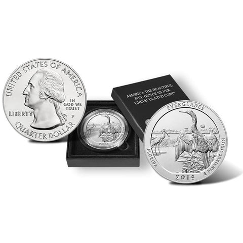 2014-P America The Beautiful Five Ounce Silver Florida, Everglades Uncirculated Coin w/ Box & C.O.A.