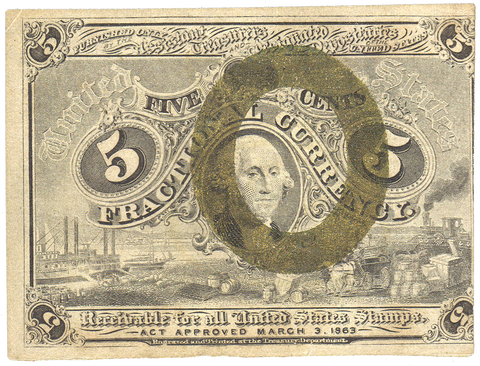 (1863-1867) 2nd Issue 5¢ Fractional Fr. 1232 ~ Very Fine