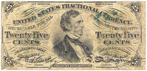 (1864-1869) 3rd Issue 25¢ Fractional Fr. 1295 (a on face) ~ Very Good/Fine