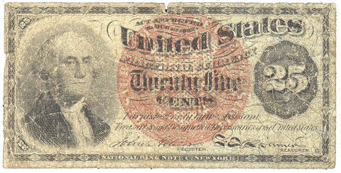 (1869-1875) 4th Issue 25¢ Fractional Fr. 1302 ~ Very Good
