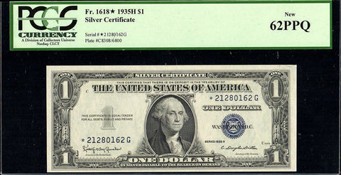 1935-H $1 Silver Certificate Star Note Fr. 1618* - PCGS New 62 PPQ