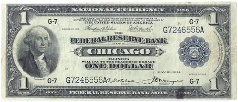 1918 $1 Chicago Federal Reserve Bank Note (FR. 727) - Very Fine