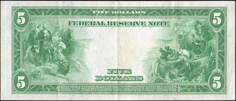 1914 $5 Boston Federal Reserve Note Fr. 847a - Choice Very Fine