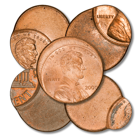 Five Different Off-Center Lincoln Memorial Cents - Uncirculated