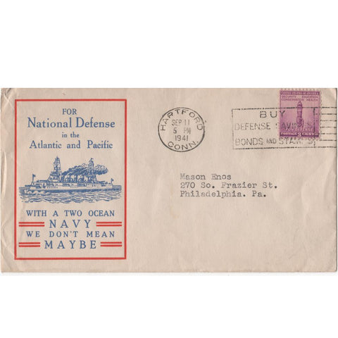 "Sep. 11, 1941 ""For National Defense in the Atlantic and Pacific"" WW2 Patriotic Cover"