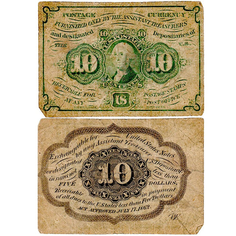 (1862-1863) 1st Issue 10¢ Fractional Fr. 1242 - Very Good