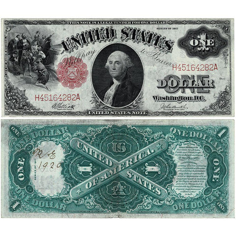 "1917 ""Sawhorse"" $1 Legal Tender Note - Fr. 37 - About Uncirculated (Initials/Date)"