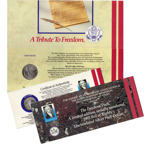 "1993 ""Freedom Pack"" Bill of Rights Uncirculated Silver Half Dollar"