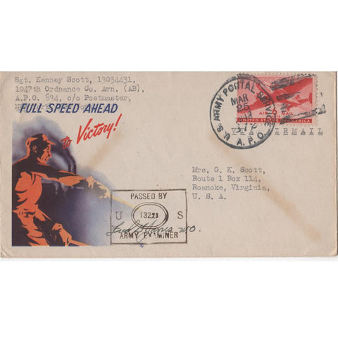"Mar. 25, 1943 ""Full Speed Ahead to Victory"" WW2 Patriotic Cover"