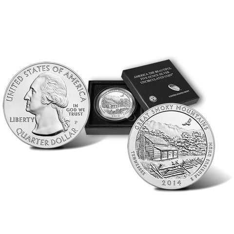 2014-P America The Beautiful Five Ounce Silver Tennessee Great Smoky Mountains Uncirculated Coin w/ Box & C.O.A.