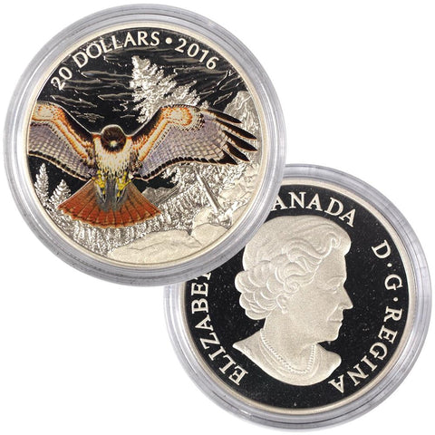 2016 $20 Regal Red Tailed Hawk Proof Coin in Capsule w/ C.O.A.