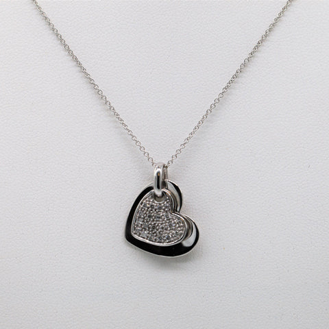 14K White Gold & Diamond Double Heart Necklace