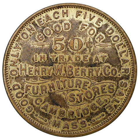 (Pre-1925) Henry W. Berry Co Furniture Dont Worry Club Gilt Bronze Token 32mm