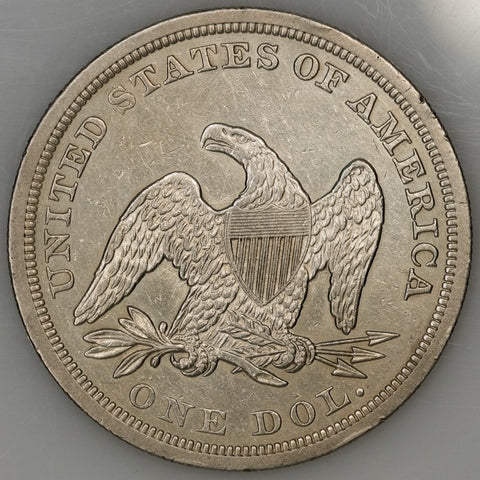 1844 Seated Liberty Dollar - About Uncirculated (rim nicks)