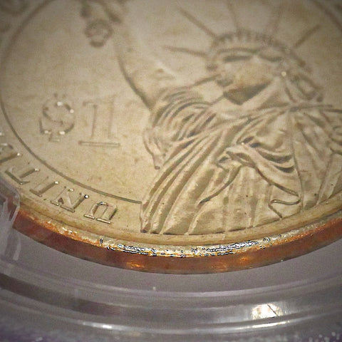 (2007) George Washington Presidential Dollar Missing Edge Lettering Mint Error