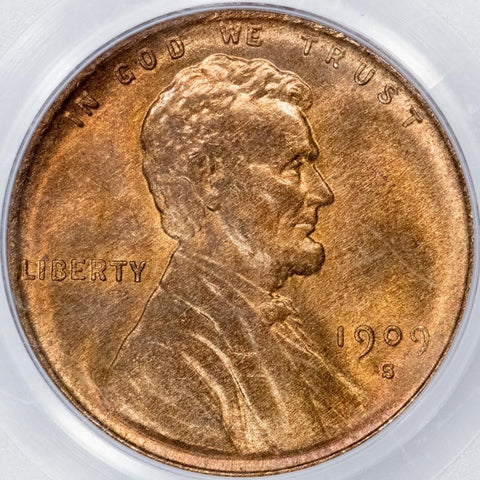 1909-S VDB Lincoln Wheat Cent in PCGS MS 64 RD