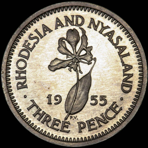 Scarce 1955 Rhodesia And Nyasaland 7-Coin Boxed Proof Set KM.PS-2 - Gem Proof