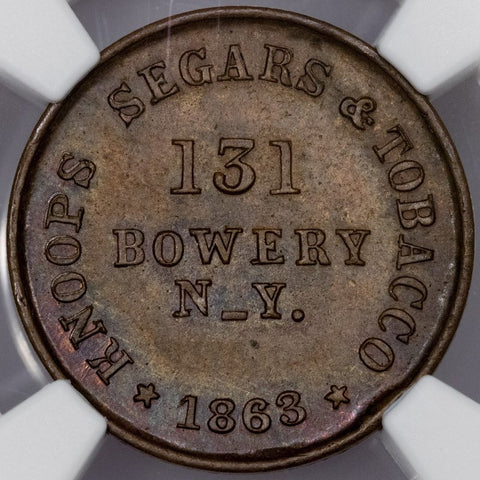 1863 Knoop's Segars & Tobacco Civil War Store Card Token (NY-630AO-5a) ~ NGC MS 63 BN