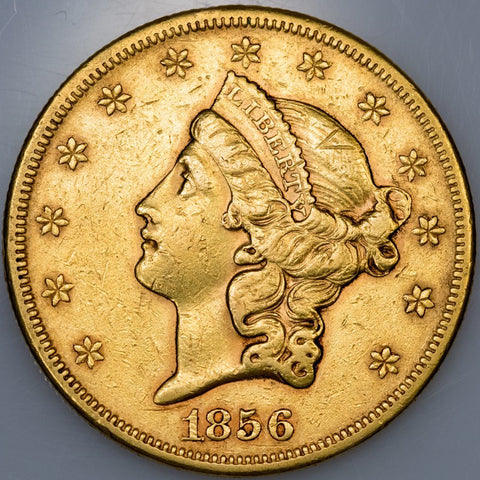 1856-S Type 1 $20 Liberty Double Eagle Gold Coin - XF/About Uncirculated