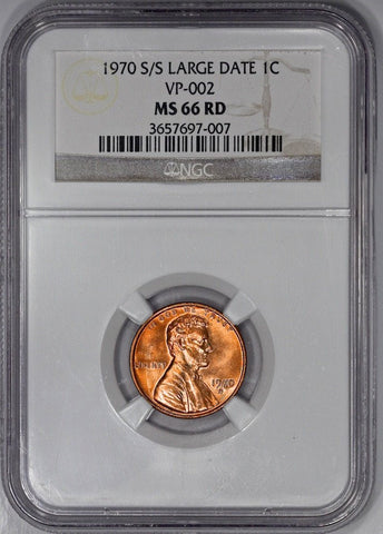 1970-S/S Large Date Lincoln Cent Top 100 RPM-001 NGC MS 66 RD None Higher