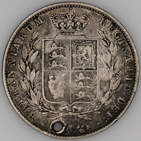 Great Britain - 1848 Half Crown - KM.740 - Very Fine Details (Holed)