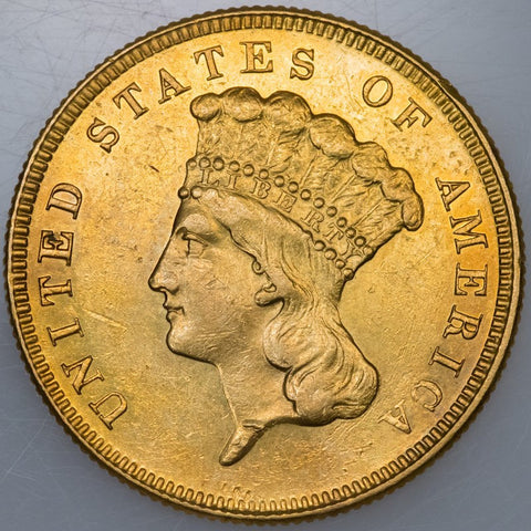 1886 $3 Princess Gold (scarce!) - About Uncirculated+