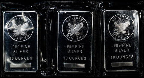 Sunshine 1 oz & 10 oz Silver Bars