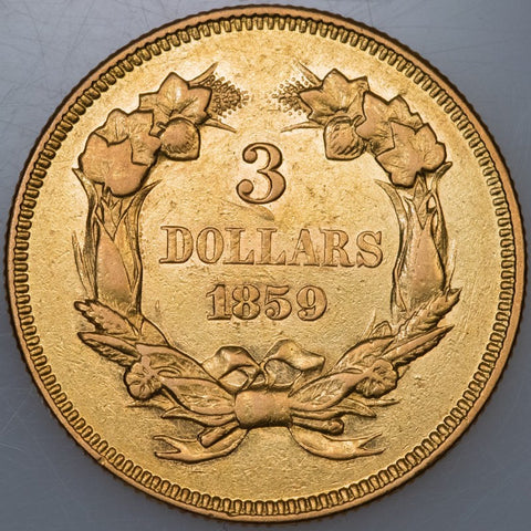 1859 $3 Princess Gold - About Uncirculated